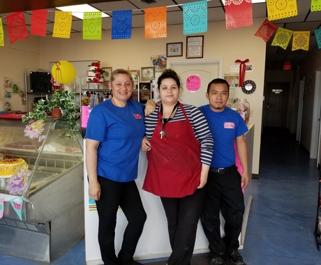 Three business owners in a bakery