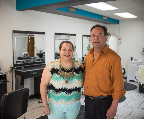 Man and woman business owners in a hair salon