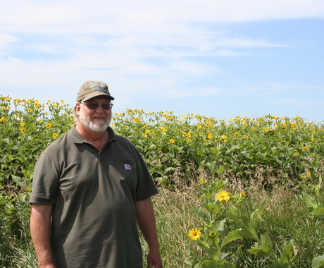 Mark Tjelmeland standing in front of sunflowers