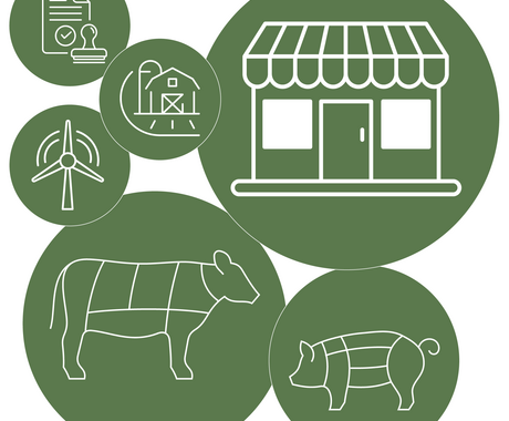 Green circles with graphics of stamp, farm, wind turbine, storefront, cow, and pig