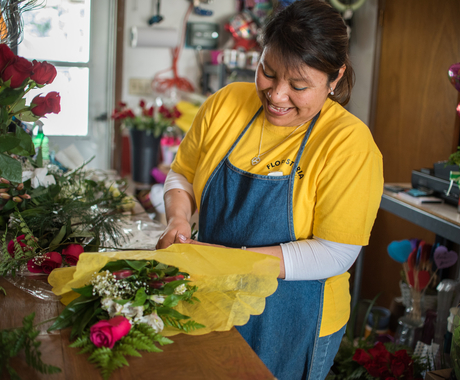 Woman business owner in flower shop