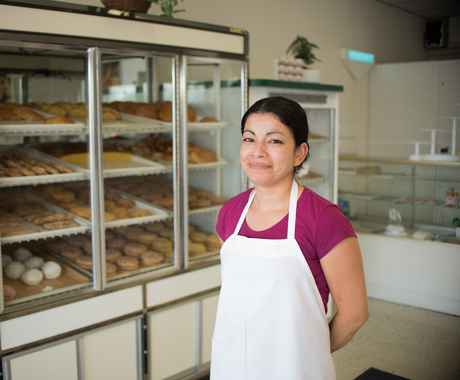 Woman at bakery