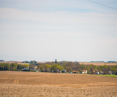 rural community with field in front