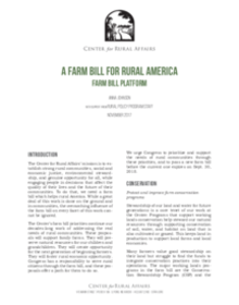A Farm Bill for Rural America