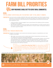 Crop insurance priorities